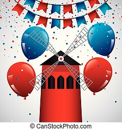 happy bastille day france moulin rouge with ballons glitters vector illustration