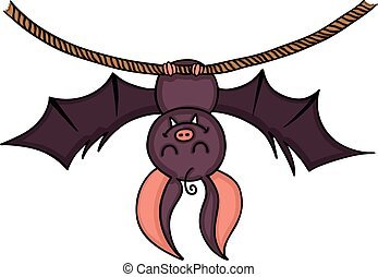 Happy bat hanging on a rope