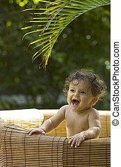 Happy Bathtime 2 - Bath time in the tropical garden for a...