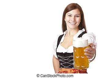 Happy Bavarian woman holding Oktoberfest beer stein (Mass)