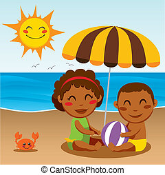 Happy Beach Baby - Black ethnicity little boy and girl...