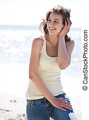 Happy beach summer girl