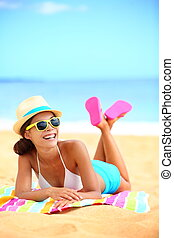 Happy beach woman laughing having fun