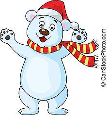 Vector illustration of happy polar bear carton