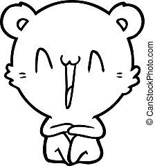 happy bear sitting cartoon