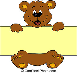 Happy bear with banner