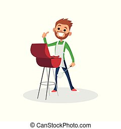 Happy bearded man character in apron showing thumb up and cooking a barbecue grill. Vector flat cartoon illustration isolated on white background.