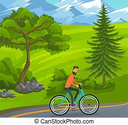 Happy bearded man riding bicycle on road near green trees, hills at snowy mountains background