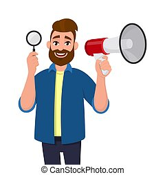Happy bearded young man showing/holding magnifying glass and megaphone/loudspeaker for announcing news. Search, find, discovery, analyze, inspect, investigation concept illustration in cartoon style.