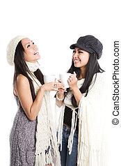 Happy beautiful asian women laughing
