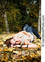 Happy beautiful autumn woman