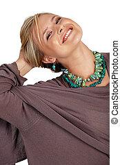 happy beautiful blond woman