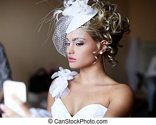 Happy beautiful bride blond girl