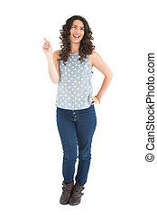 Happy beautiful brunette posing