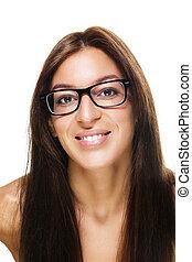 happy beautiful brunette woman wearing black glasses on white background