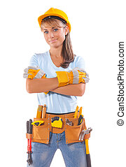 happy beautiful female construction worker isolated on white background