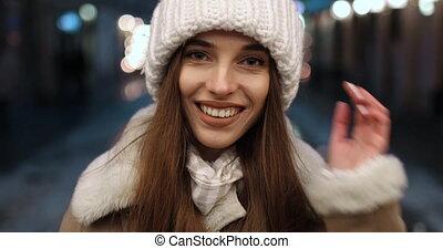 Girl Smiling while Looking at Camera - Happy Beautiful Girl...
