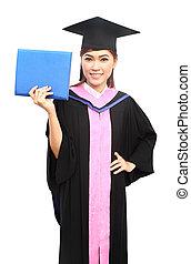 beautiful graduation girl holding her diploma