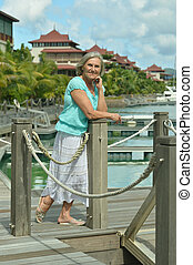 senior woman on the pier