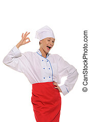 happy beautiful woman cook