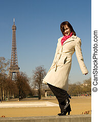 Happy beautiful woman having fun in Paris