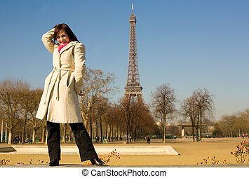 Happy beautiful woman in Paris, having fun
