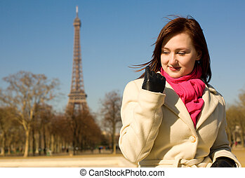 Happy beautiful woman in Paris