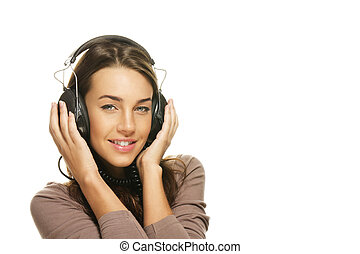 happy beautiful woman listening to music on white background