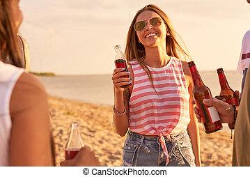 Happy beautiful woman talking to friends