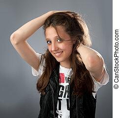 happy beautiful young girl