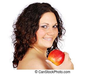happy beauty girl with apple