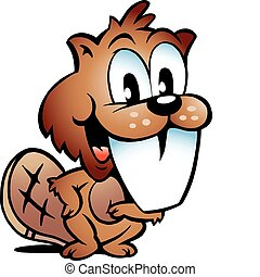Happy Beaver with big teeth - Hand-drawn Vector illustration...