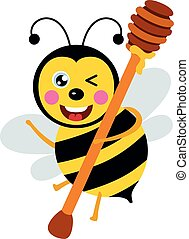 Happy bee carrying a wooden honey spoon