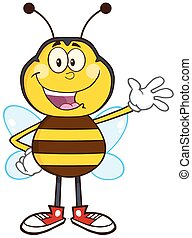 Happy Bee Character Waving - Happy Bee Cartoon Mascot...