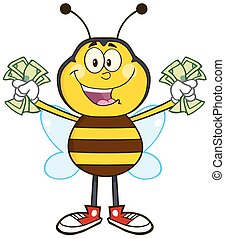 Happy Bee Character With Cash