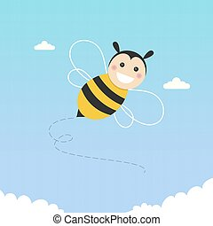 Happy bee flying on a blue sky