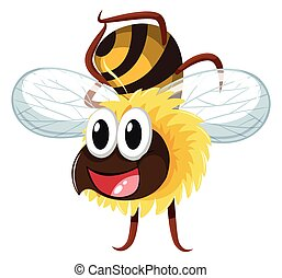Happy bee flying on white background