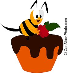 Happy bee, illustration, vector on white background.