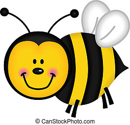 Happy Bee - Image representing a happy bee, isolated on ...