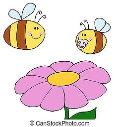 Happy Bee Pollinating A Purple Dais