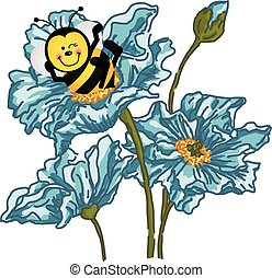 Happy bee sitting on blue flower