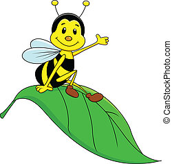 Happy bee sitting on leaf
