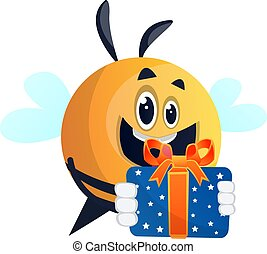 Happy bee with a present, illustration, vector on white background.