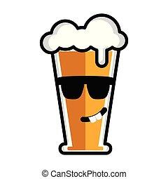Happy beer cartoon character