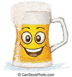 happy beer - happy mug of beer cartoon character smiling.