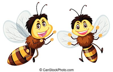 Happy bees on white background