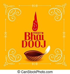 Happy bhai dooj traditional festival card design vector