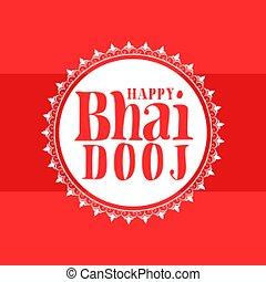 Happy bhai dooj traditional festival greeting background vector