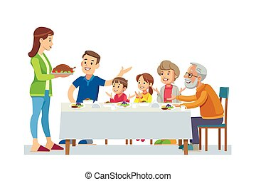 Happy big family eating dinner together vector illustration.