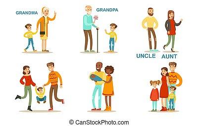 Happy Big Family Members Set, Grandma, Grandpa, Aunt, Uncle,...